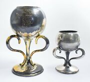 2 Vintage Silver Plated Loving Cup Style Trophies - Pw3