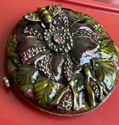 Jay Strongwater Mirror Compact Case Excellent Flower And Bee Gorgeous Crystals