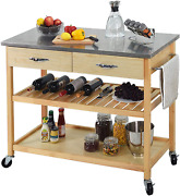 Charavector Kitchen Islands Carts With Wheels Stainless Steel Counter Top 3 Tier