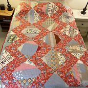 Vintage Handmade Crazy Quilt Blocks With Floral Sashing Feed Sack Look 84 X 64