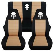 Front And Rear Car Seat Covers Fits Ford F150 Truck 97-03 Skull Design