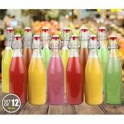 Swing Top Easy Cap Clear Glass Beer Bottles Round 16 Oz Set Of 12
