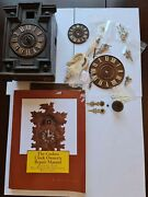 Old And New Cuckoo Clock Parts Hands .dials And Old Clock And Repair Book