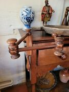 A Fantastic Geogian Yew Wood Sewing Lace Clamp Articulated Adjustable 3 Arm