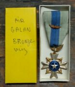 Vietnam Vintage Rvn Air Gallantry Cross Medal W/ Bronze Wing And Box Theater Made