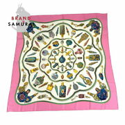 Hermes Kare 90 Pottery Glass Bottles Pink White Silk Scarf Secondhand Women And039s