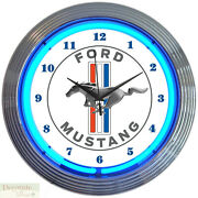 Ford Mustang Blue Auto 15 Neon Wall Clock Glass Face Chrome Plate Warranty New