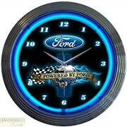 Ford Powered Engine 15 Neon Wall Clock Glass Face Chrome Plate Warranty New