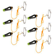6x Outrigger Power Grip Snap Release Clip W/ Leader For Sea Fishing Black