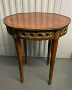 Antique French Louis Xvi Style Mahogany And Gilt Bronze Cocktail Side Lamp Table