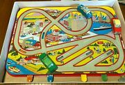 Vintage Ohio Art Mechanical Traffic Control Toy - 3 Wind-up Tin Cars Exc