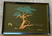 Couroc Monterey Signed Morse Cypress Tree Inlaid Wood Tray With Label