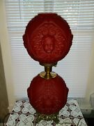 Vintage Red Satin Cherub Baby Face Gone With The Wind Gwtw Parlor Banquet Lamp