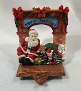 Vintage Cast Iron Santa Claus And Hearth Toys Christmas Stocking Holder Hanger
