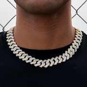 Diamond Prong Link Necklace 19mm In Yellow Gold