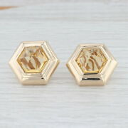 Citrine Statement Button Earrings 14k Yellow Gold Non Pierced Clip On