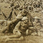 Wwi Germany Treves Doughboys 89th Division Marines Resting Photo Stereoview C305