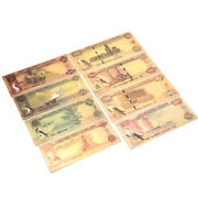 7pc Saudi Uae Currency Banknote In 24k Gold Paper Money Collection Commemorat