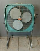 Vintage Dominion Metal Box Fan On Stand 2 Speed Works Local Wv Pickup Only
