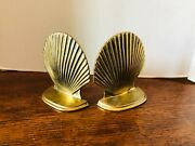 One Pair Of Solid Brass Scalloped Clamshell Bookends Nautical/beach