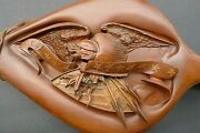 American Eagle Hand Carved Wood Fireplace Bellows Claws Arrows Finest Seen Look