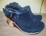 Uggs Women's Size 7 High Heel Black Close Toe Leather Suede S/n 1000396