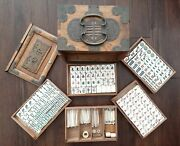 Antique Mahjong Set 148 Bone And Bamboo Tiles And 119 Sticks Butterfly Wooden Case