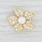 2.25ctw Vvs Diamond And Pearl Flower Brooch 18k Yellow Gold Floral Statement Pin