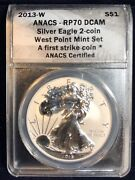 2013-w Silver Eagle 2-coin West Point Set Pcgs First Strike Perfect Proof 70
