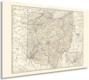 Historix Vintage 1894 Ohio Map Poster - 24x36 Inch Vintage Map Of Ohio State - -