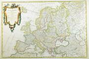1762 Engraved Antique Map Of Europe Iceland To Caspian Sea By Janvier Dr
