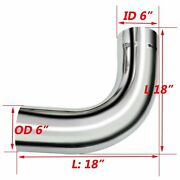 Bozz New 90 Degree Chrome 6od Exhaust Elbow Pipe-18 Inch Arms