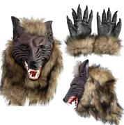 Halloween Rubber Wolf Head Face Mask Werewolf Claw Gloves Cosplay Costume Party