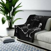 Personalized Halloween Blanket Dancing Skeleton Black And White Anniversary Gift