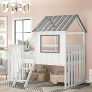 Twin Size Loft Bed With Slide House Bed With Slide Wood Childrenand039s Bed White Us