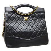 Quilted Cc Chain 2way Hand Bag 1237132 Purse Black Leather Vintage 40634