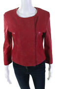 Giorgio Armani Womens Leather Embroidered Button Down Jacket Pink Size Eur 42