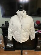 Faux Leather Zip Up Puffer Jacket