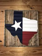 Texas Flag On Wooden Framed Background Real Antique Barbed Wire Wall Decor 28x26