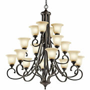 Kichler 43192 Bronze Monroe 16-light 45w Chandelier With Etched Glass Shades