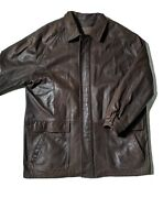 Johnston And Murphy Leather Jacket 48 Brown Distressed Coat Tweed Zip-out Liner