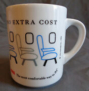 1993 Twa Airlines Mug Cup The Most Legroom At No Extra Cost Disappearing Seats