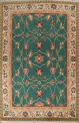 Floral Nepalese Oriental Area Rug Green Hand-knotted Living Room Carpet 9and039x12and039