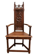French Gothic Arm Chair Occasional Chair Antique 19th Century Walnut 11443