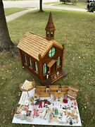 Handcrafted Dollhouse Church 1930s Dolls Furniture Stained Glass Wood Open Roof