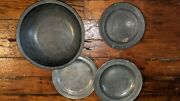 1784-1802 Antique English Pewter Townsend And Compton Marked Lot Bowl And 3 Plates