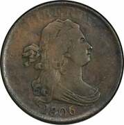 1806 Half Cent Small 6 No Stems Ef Uncertified 1026