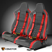 Pair Black/red Pvc Leather White Stitch Racing Seats+4-point Seat Belts Harness