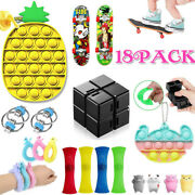 18pack Sensory Fidget Toys Hand Game Adhd Simple Dimple Stress Relief Kids Gifts