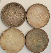 1966 Ireland 10 Schilling Silver Coins 3 Uncs And1 Circ. Real Nice Lot Of 4